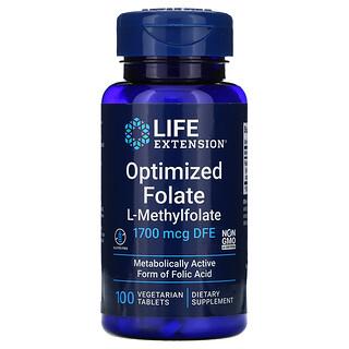 Life Extension, Optimized Folate, 1,700 mcg DFE, 100 Vegetarian Tablets