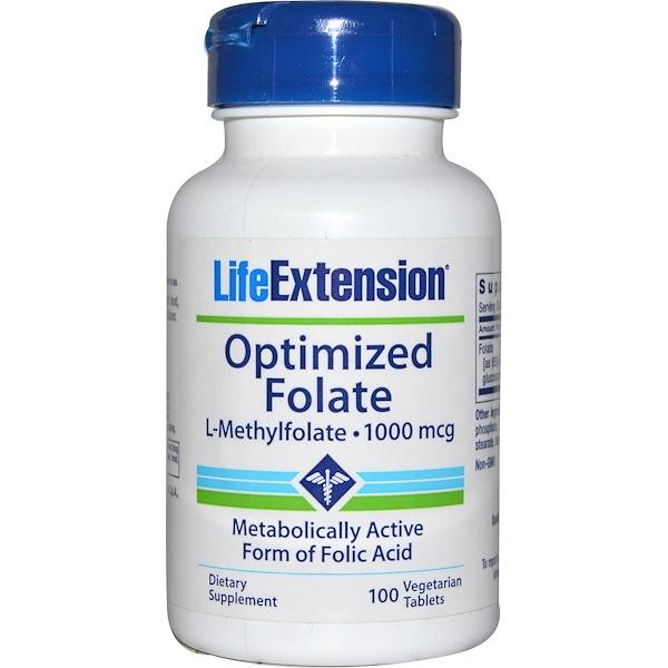 Life Extension, オプティマイズドフォレート、1000 mcg、100野菜錠剤