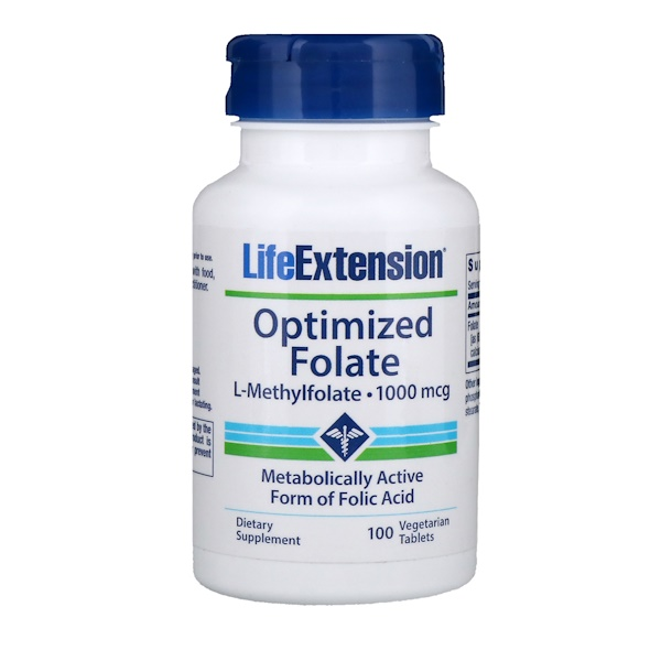 Life Extension, Folato optimizado, 1000 mcg, 100 comprimidos vegetales