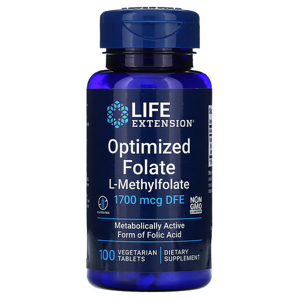 Life Extension, Optimized Folate, 1,700 mcg DFE, 100 Vegetarian Tablets