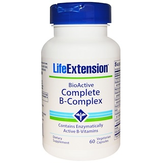 Life Extension, バイオアクティブ完全なビタミンB-コンプレックス, 60錠菜食主義者対応カプセル