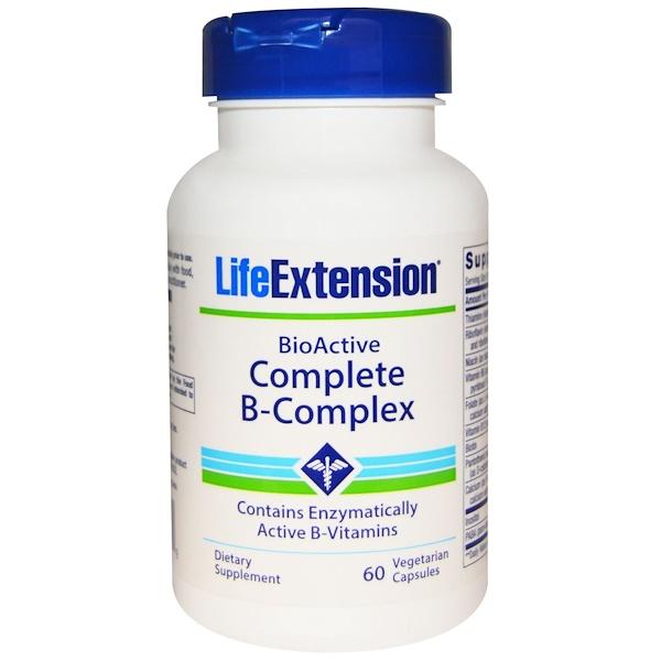 維生素複合維生素B:Life Extension, BioActive Complete B-Complex, 60 粒素食膠囊