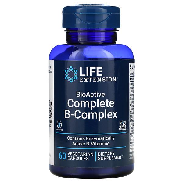 Life Extension, مركب فيتامين-ب الكامل النشط حيويًا، 60 كبسولة نباتية
