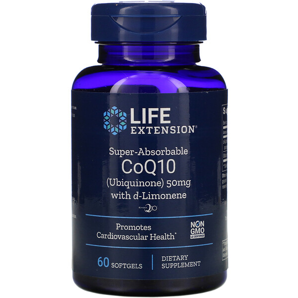 Life Extension, Super-Absorbable CoQ10 with d-Limonene, 50 mg, 60 Softgels