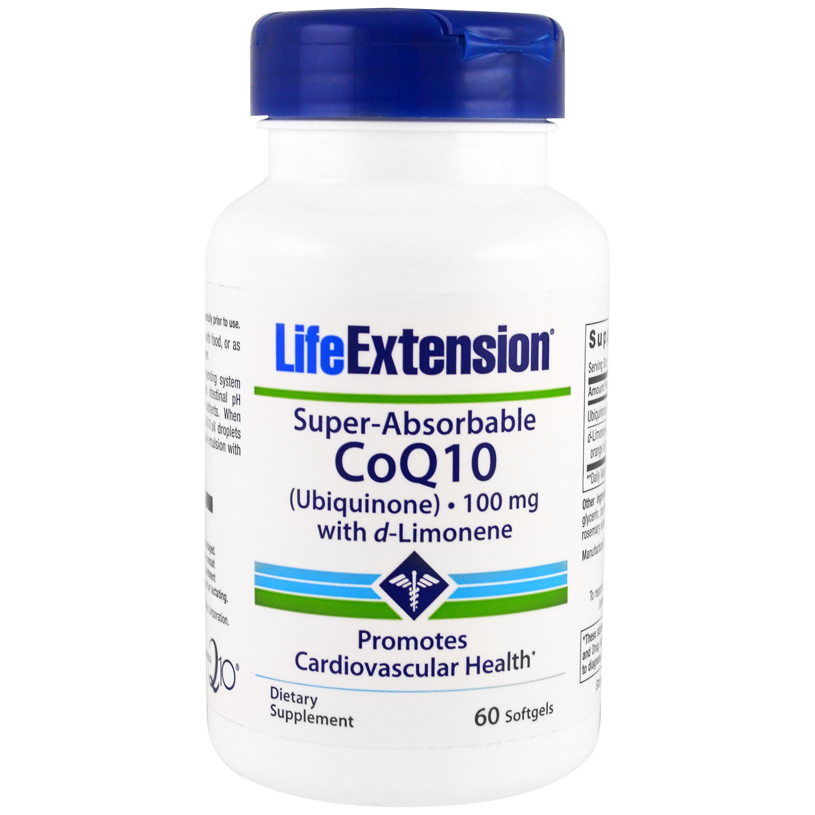 Life Extension, Супер-усваиваемый коэнзим Q10 кофермент с d-лимоненом, 100 мг, 60 капсул в мягкой оболочке