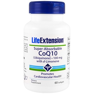 Life Extension, Super-Absorbable CoQ10 Ubiquinone with d-Limonene, 100 mg, 60 Softgels