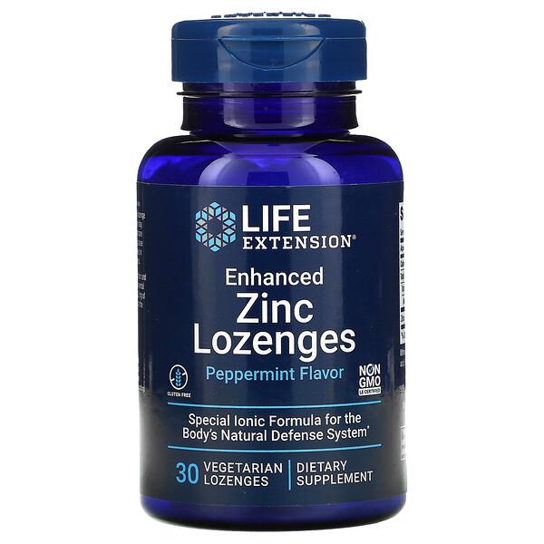 Enhanced Zinc Lozenges, Peppermint, 30 Vegetarian Lozenges