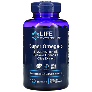 Life Extension, Super Omega-3 EPA/DHA Fish Oil, Sesame Lignans & Olive Extract, 120 Softgels