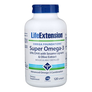 Life Extension, Omega Foundations, Super Ômega 3, 120 Cápsulas de Softgel