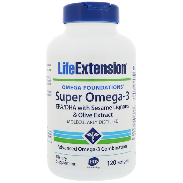 Life Extension, Omega Foundations、Super Omega-3、120ソフトジェルカプセル