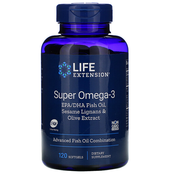 Life Extension, Super Omega-3 EPA/DHA Fish Oil, Sesame Lignans & Olive Extract, 120 Softgels