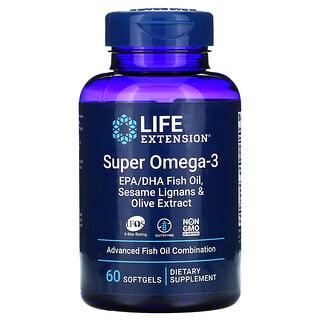 Life Extension, Super Omega-3، عبوة 60 كبسولة هلامية