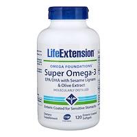Omega Foundations, Super Omega-3, 120 покрытых кишечнорастворимой оболочкой жидких капсул - фото