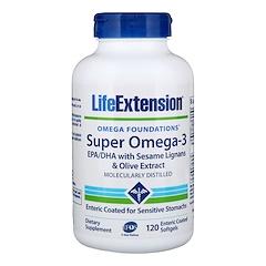 Life Extension, Omega Foundations, スーパーオメガ-3, 120腸溶性コーティングソフトジェル