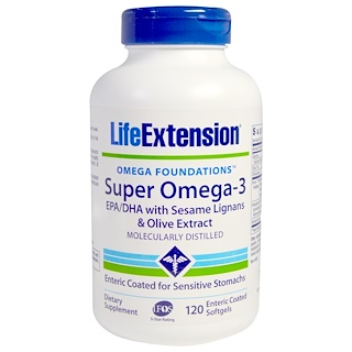 Life Extension, Omega Foundations, Super Omega-3, 120 Enteric Coated Softgels