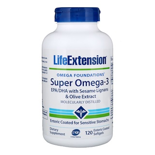 Life Extension, Omega Foundations, Super Omega-3, 120 Enteric Coated Softgels