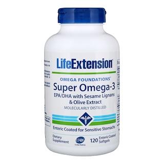Life Extension, Omega Foundations, Super Oméga-3, 120 gélules enrobées entériques