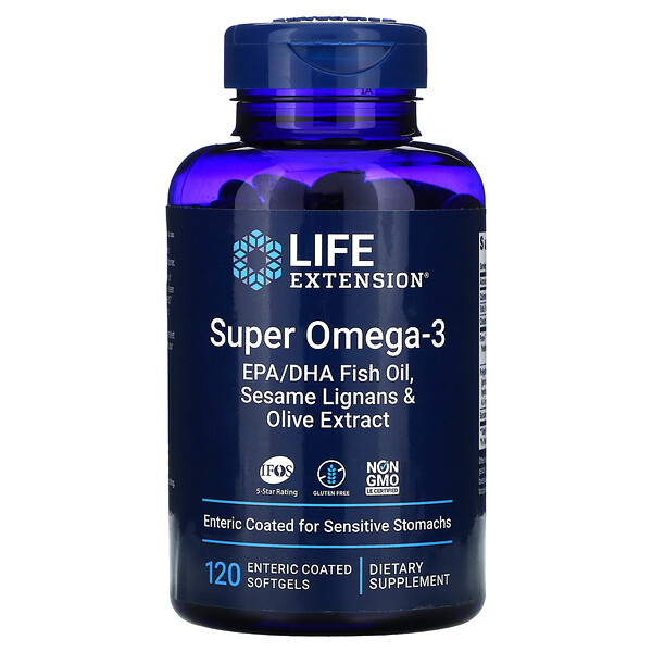 Life Extension, Super Omega-3, 120 Enteric Coated Softgels