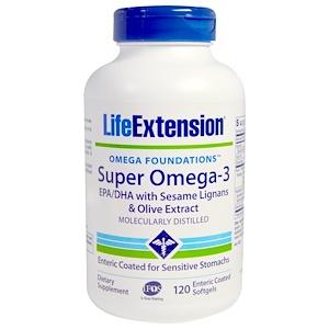 Life Extension, Омега Foundations, Super Омега-3, 120 покрытых кишечнорастворимой оболочкой жидких капсул инструкция, применение, состав, противопоказания