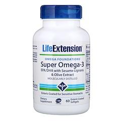 Life Extension, オメガファンデーション(オメガの基盤)、 スーパーオメガ 3、 腸溶性ソフトジェル60粒