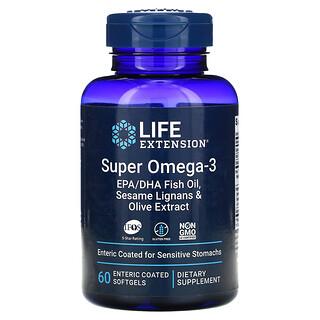 Life Extension, 超級歐米伽 3 EPA/DHA 魚油、芝麻木酚素和橄欖提取物,60 片腸溶包衣片