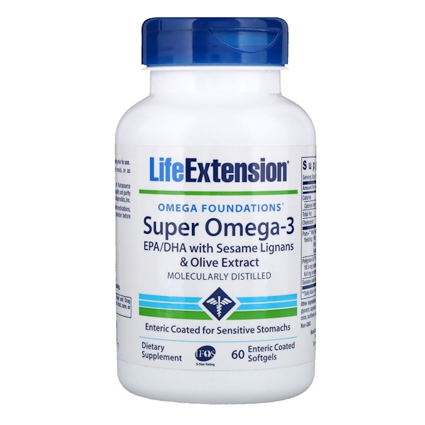 Life Extension, Omega Foundations, Super Omega-3, 60 Enteric Coated Softgels