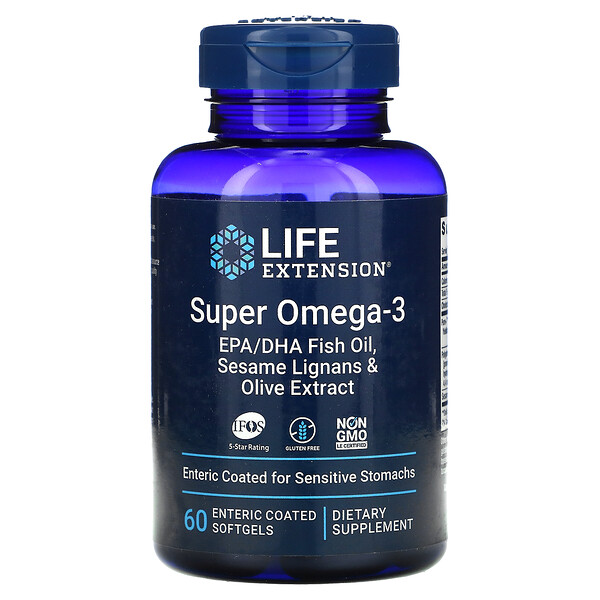 Super Omega-3 EPA/DHA Fish Oil, Sesame Lignans & Olive Extract, 60 Enteric Coated Softgels