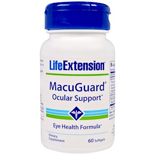 Life Extension, MacuGuard, Ocular Support, 60 желатиновых капсул
