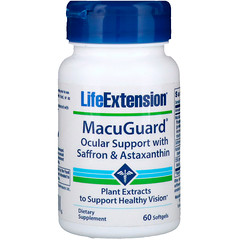 Life Extension, MacuGuard, 사프란 & 아스타잔틴 함유 안구 보조제, 60 소프트젤
