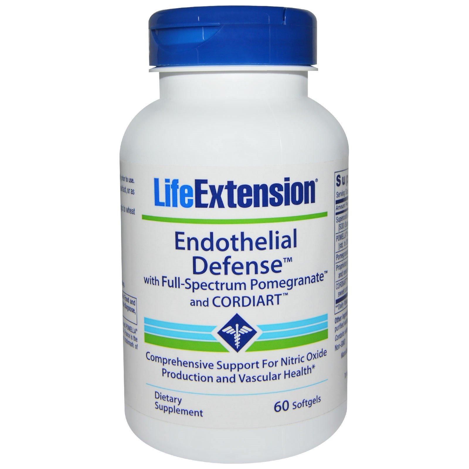 Life Extension, Эндотелиальная защита с полноспекторным Pomegranate и Cordiart, 60 желатиновых капсул