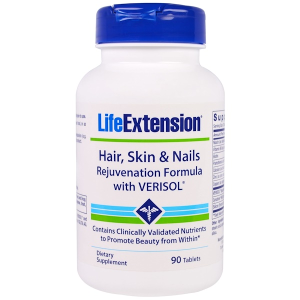 Life Extension, Hair, Skin & Nails, Rejuvenation Formula with Verisol, 90 Tablets