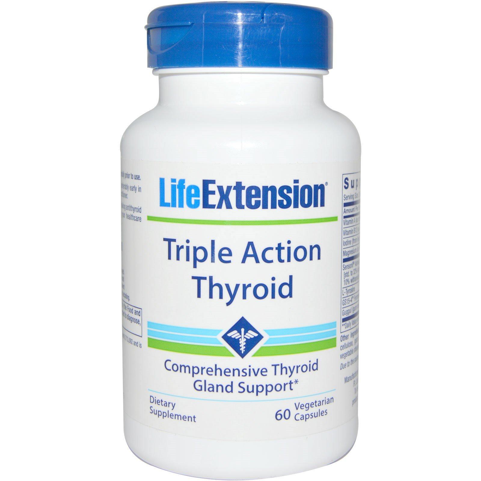 Life Extension, Тироид тройного действия, 60 вегетарианских капсул