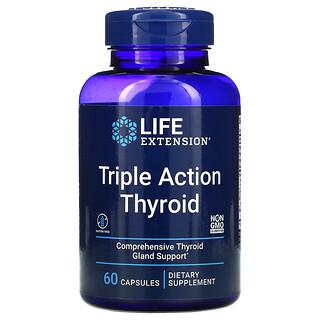 Life Extension, Triple Action Thyroid, комплекс для здоровья щитовидной железы тройного действия, 60капсул