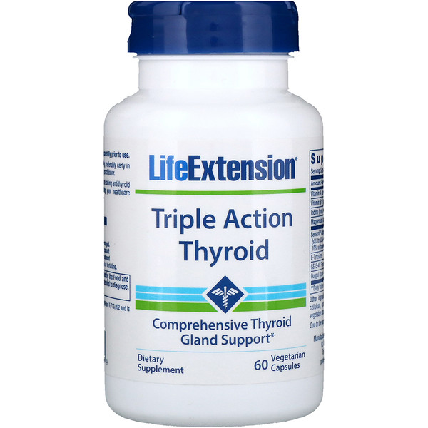 Life Extension, Triple Action Thyroid, 60 Vegetarian Capsules