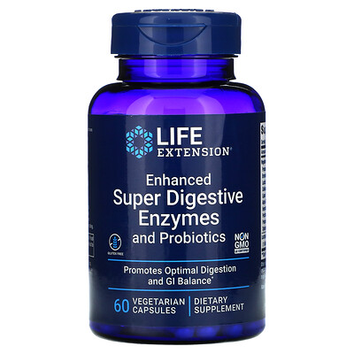 Life Extension Enhanced Super Digestive Enzymes and Probiotics, 60 Vegetarian Capsules