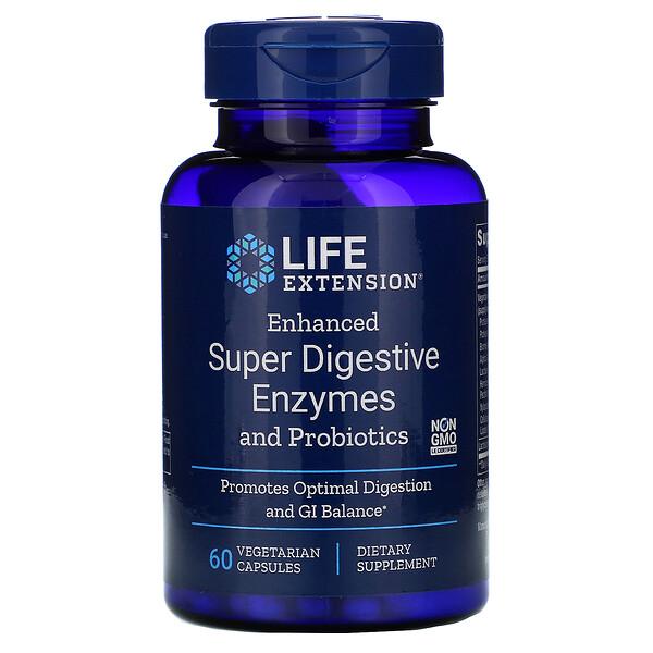 Enhanced Super Digestive Enzymes and Probiotics, 60 Vegetarian Capsules
