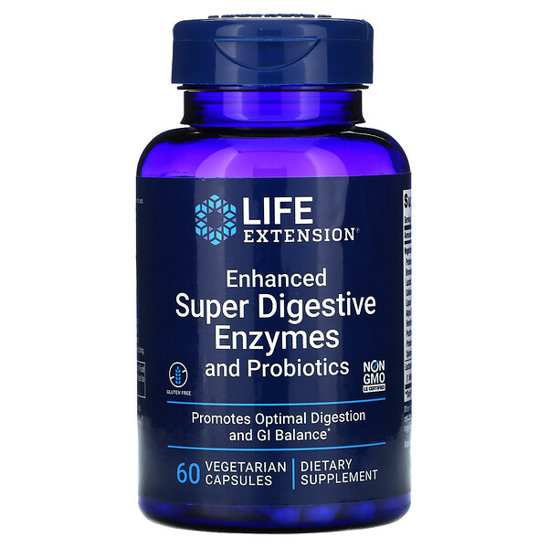 Enhanced Super Digestive Enzymes and Probiotics, 60 Vegetarian Capsules
