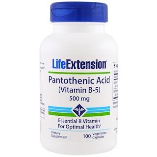 Life Extension, Pantothenic Acid, (Vitamin B-5), 500 mg, 100 Veggie Caps