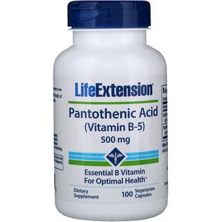 Life Extension, Pantothenic Acid, (Vitamin B-5), 500 mg, 100 Vegetarian Capsules