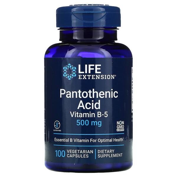 Pantothenic Acid, Vitamin B-5, 500 mg, 100 Vegetarian Capsules