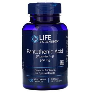 Лайф Экстэншн, Pantothenic Acid, (Vitamin B-5), 500 mg, 100 Vegetarian Capsules отзывы покупателей