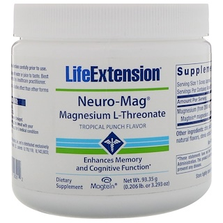 Life Extension, Neuro-Mag, Magnesium L-Threonate, Tropical Punch Flavor, 3.293 oz (93.35 g)