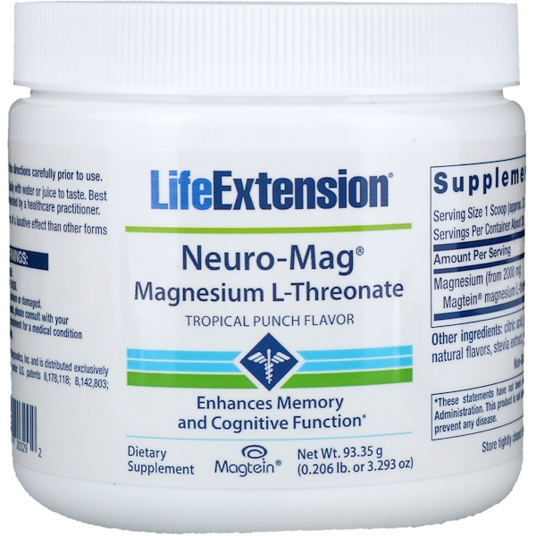Life Extension, Neuro-Mag, Magnesium L-Threonate, Tropical Punch Flavor, 0、206 lb (93、35 g)