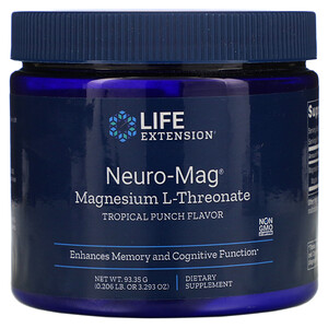 Лайф Экстэншн, Neuro-Mag, Magnesium L-Threonate, Tropical Punch Flavor, 3.293 oz (93.35 g) отзывы покупателей