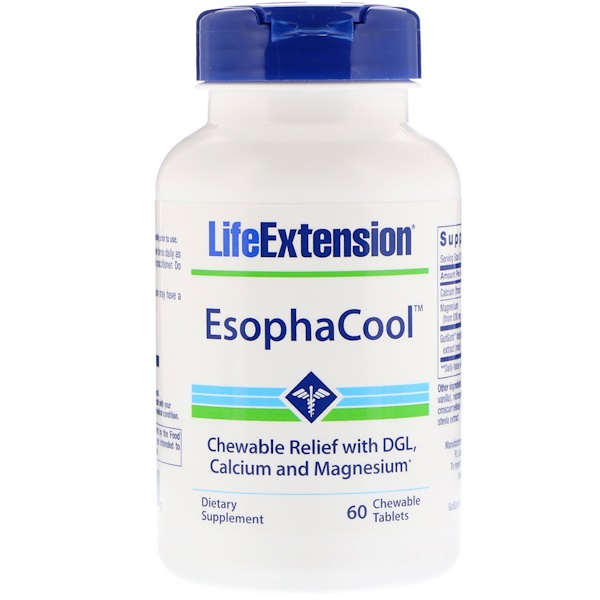 Life Extension, EsophaCool، 60 قرصًا قابلاً للمضغ (Discontinued Item)