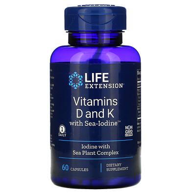Life Extension витаминыD и К с Sea-Iodine, 125мкг (5000МЕ), 60капсул