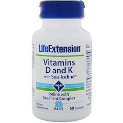 Life Extension, Vitamins D and K with Sea-Iodine, 60 Capsules