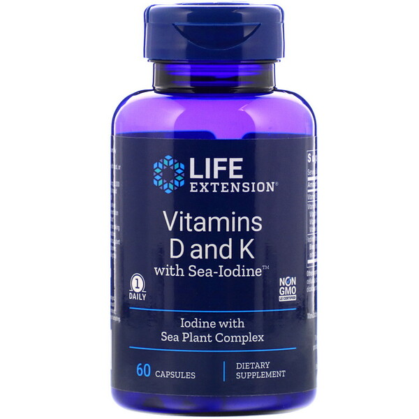 Vitamins D and K with Sea-Iodine, 60 Capsules