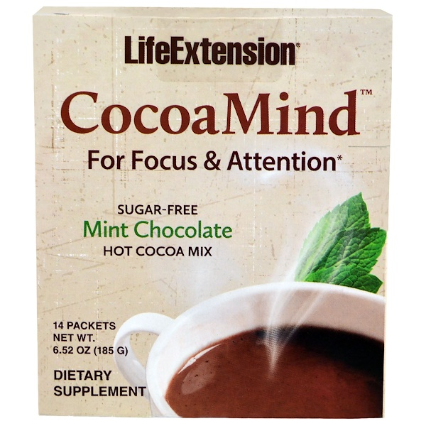 Life Extension, 코코아 민트, 민트 초콜릿, 14 팩, 6.52 oz (185 g) (Discontinued Item)