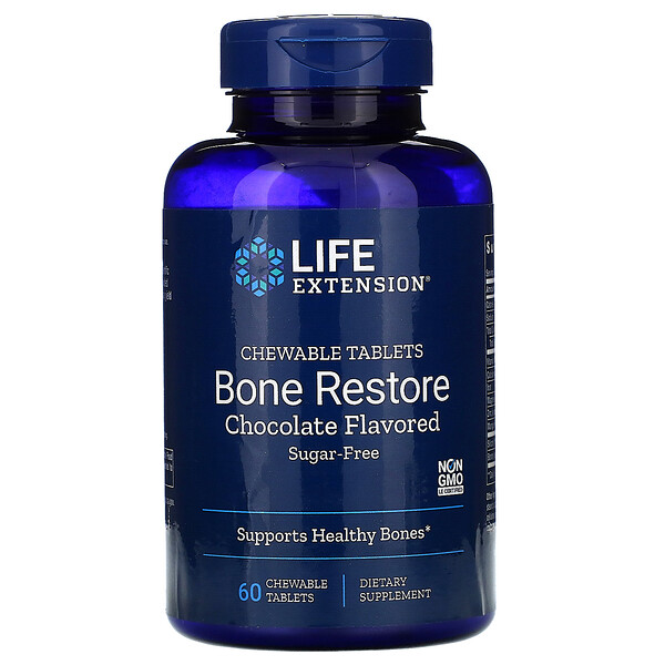 Life Extension, Bone Restore, Sugar-Free, Chocolate Flavored, 60 Chewable Tablets (Discontinued Item)